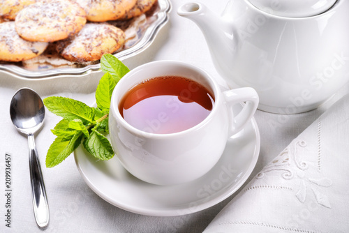 Tea, mint and biscuits