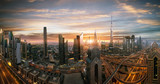Dubai sunset panoramic view of downtown. Dubai is super modern city of UAE, cosmopolitan megalopolis. Very high resolution image