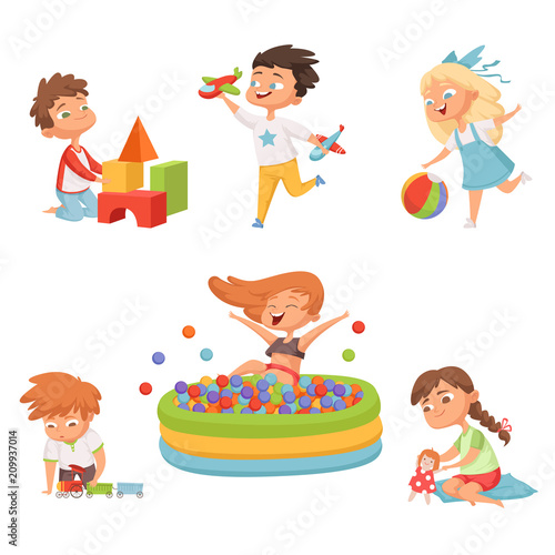 Preschool childrens playing in various toys. Vector illustrations in cartoon style