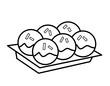 タコヤキ青のり皿(線画)