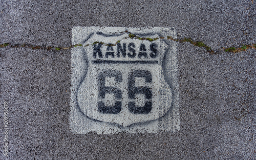 Fotobehang Route 66 Route 66 marking found on Kansas highway