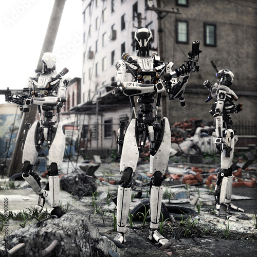 Artificial Intelligence self aware android robots patrolling a destroyed city. 3d rendering  - 209960026