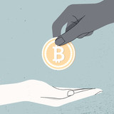 Hand holding Bitcoin  and give it another hand, money laundering - 209966044