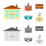 House of government, stadium, cafe, church.Building set collection icons in cartoon,monochrome style vector symbol stock illustration web. - 209975497