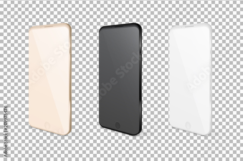 Realistic mobile phones. Smartphone illustration isolated on white background. Graphic concept for your design