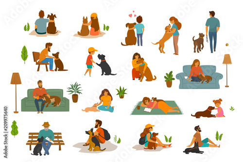 people man woman adults and children with dogs scenes set humans