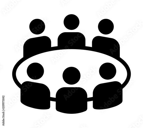 Team business meeting with teamwork and collaboration flat vector icon for apps and websites
