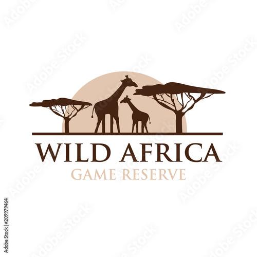 Wild Africa Vector Logo Design with Giraffe Silhouette