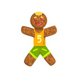 Gingerbread man in costume of soccer player, Christmas character with funny face vector Illustration on a white background