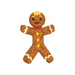 Gingerbread man, Christmas character with funny face vector Illustration on a white background