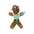 Gingerbread man in costume of pirate, Christmas character with funny face vector Illustration on a white background
