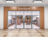 Store exterior in mall. 3d illustration - 209983659