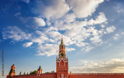 The Grand Kremlin Palace and Kremlin wall. Summer evening. Moscow. Russia