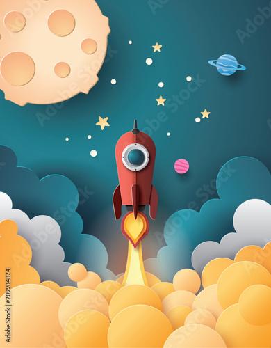 Fototapeta Space rocket launch and galaxy .