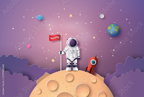Astronaut with Flag on the moon