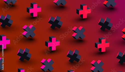 Red background with pink 3d crosses pattern.