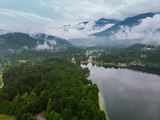 Aerial drone view of Bohinj Lake in Slovenia after storm - 210000238