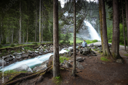 Man watching at Krimml Waterfalls in High Tauern National Park Austria, - 210000428
