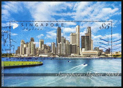 Singapore skyline on beautiful postage stamp