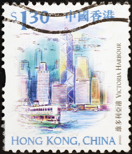 obraz PCV Victoria harbor of Hong Kong on postage stamp
