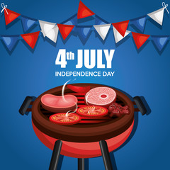 USA independence day barbeque party vector illustration design