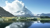 time lapse of Matterhorn in lake Riffelsee, Zermatt, Switzerland - 210017697