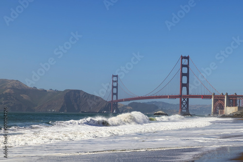 Plakat California beach at the Golden Gate Bridge