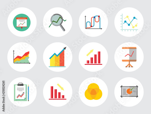 Remarkable Graph Icon Set Magnifier And Graph Growing Bar Chart Declining Bar Wiring Digital Resources Jonipongeslowmaporg