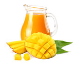 mango juice with mango slice isolated on white background. jug of mango juice. - 210025801