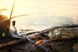 Successful fishing. Caught Pike fish and fishing tackle on wooden Dock - 210031012