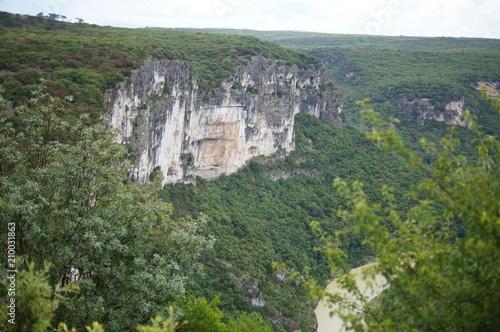 Plexiglas Khaki Scenery in the Groges de l'Ardeche near Vallon-Pont-d'Arc