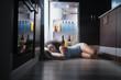 Leinwandbild Motiv Black Woman Awake For Heat Wave Sleeping in Fridge