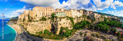 Plexiglas Freesurf Italian summer holidays - beautiful Tropea town on the rock and great beach. Calabria, Italy
