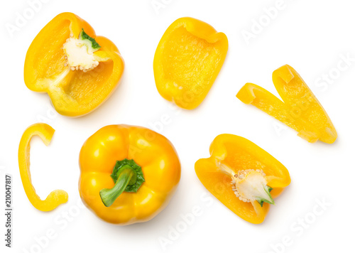 Yellow Peppers Isolated on White Background - 210047817