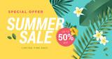 Summer sale vector illustration for mobile and social media banner, poster, shopping ads, marketing material - 210048485