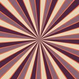 starburst or sunburst background pattern with a vintage color palette of purple orange and light beige off white in a radial striped design - 210049631