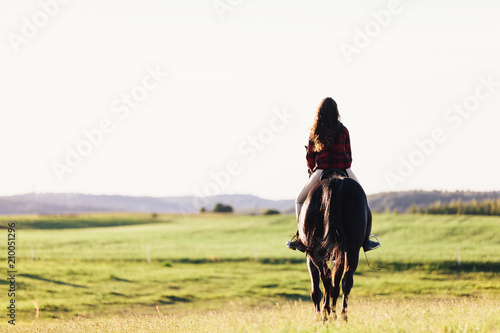 Foto Murales Young girl sitting on a bay horse, riding on the field.