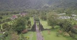 Wide aerial view of famous Bali gates in Indonesia with tourists. - 210056284