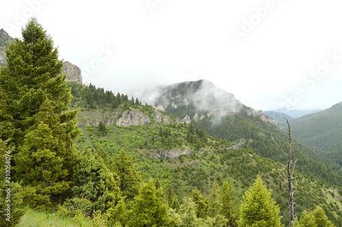 Foto Murales Foggy Mountain Cliffs
