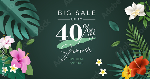 Summer sale vector illustration for mobile and social media banner, poster, shopping ads, marketing material.  - 210060681