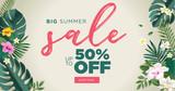 Summer sale vector illustration for mobile and social media banner, poster, shopping ads, marketing material.  - 210060883