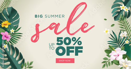 Summer sale vector illustration for mobile and social media banner, poster, shopping ads, marketing material.  - 210060883