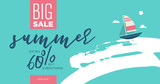 Summer sale vector illustration for mobile and social media banner, poster, shopping ads, marketing material.  - 210061049