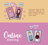 Infographic presentation of online dating concept with icons over colorful background, vector illustration - 210064662