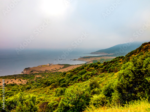 View to the straight of Gibraltar from the spanish side on a foggy morning - 210069681