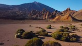 Aerial view of the Teide National Park, flight over the mountains and hardened lava. Tenerife, Canary Islands - 210073234