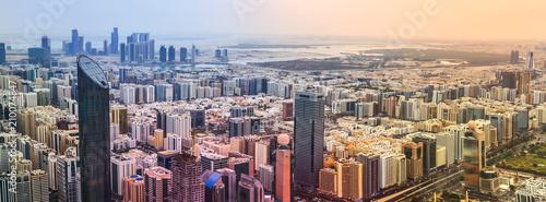 Fotobehang Abu Dhabi Panoramic sunset city skyline. Abu Dhabi