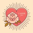 Love you retro card with rose flower illustration.