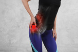 Woman with hip joint pain. Sport exercising injury - 210084253