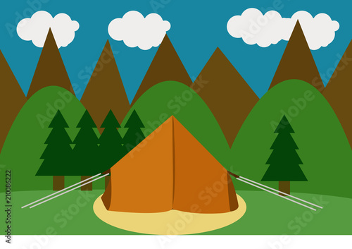 Fotobehang Groene Acampada en un paisaje montañoso.